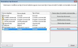 Finestra di dialogo Personalizza i tipi di record nel database commerciale di esempio con il tipo di record Fornitore selezionato.