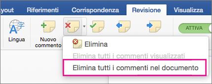 Comando Elimina tutti i commenti evidenziato nella scheda Revisione