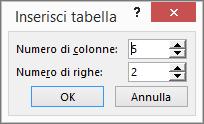 Mostra la finestra di dialogo Inserisci tabella in PowerPoint