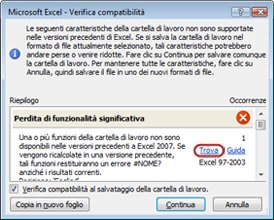 Verifica compatibilità nel menu Verifica documento