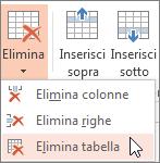 Eliminazione di una tabella