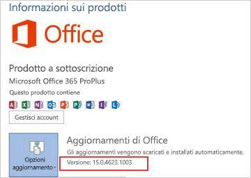 Versione di Office in Aggiornamenti di Office