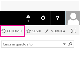 Scegliere l'icona Condividi per condividere un sito secondario con un cliente