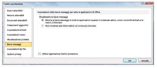 Area Barra messaggi del Centro protezione