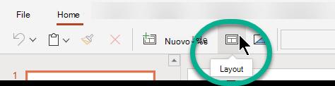 Pulsante layout nella scheda Home di PowerPoint per il Web.