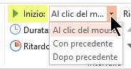 Opzioni di avvio per gli effetti di animazione in PowerPoint