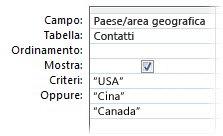 criteri or per trovare la corrispondenza di più parole o frasi
