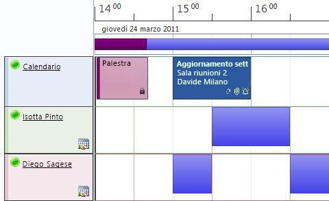 Visualizzazione pianificazione dei calendari