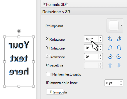 WordArt con rotazione di 180 gradi