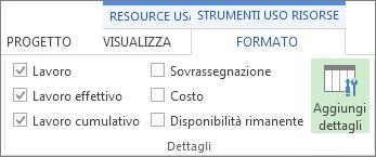 Scheda Formato strumenti uso risorse, pulsante Aggiungi dettagli