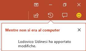 PowerPoint per Office 365 mostra chi ha apportato modifiche al file condiviso mentre si era assenti.