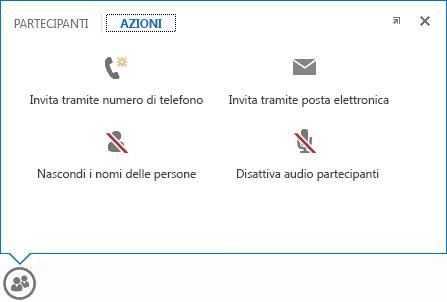 Schermata del menu visualizzato quando si passa il puntatore del mouse sul pulsante Contatti con la scheda Azioni selezionata