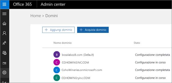 Nella pagina Gestione domini scegliere Acquista dominio