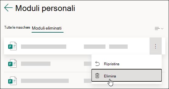 Eliminazione di un modulo nella scheda moduli eliminati di Microsoft Forms.