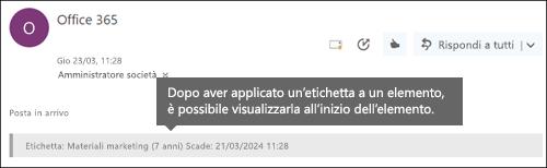 Etichetta assegnata a messaggio di posta elettronica in Outlook sul Web