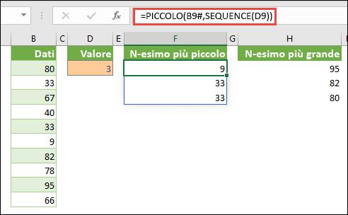 Formula in forma di matrice di Excel per trovare il valore più piccolo nth: = SMALL (B9 #, SEQUENCE (D9))