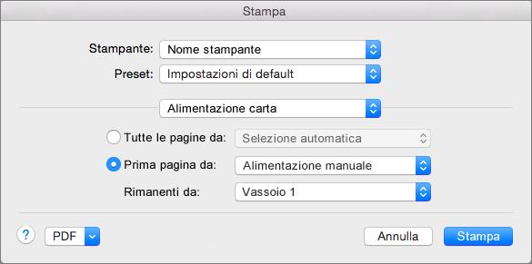 Quando si seleziona Alimentazione carta nella finestra di dialogo Stampa, è possibile selezionare l'alimentazione della carta.