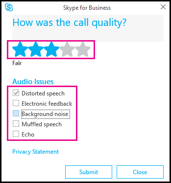 Test audio nel client Skype for Business.