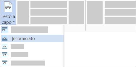 Opzioni per Testo a capo sulla barra multifunzione