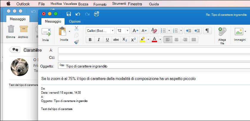 Dimensioni del carattere di Outlook per Mac