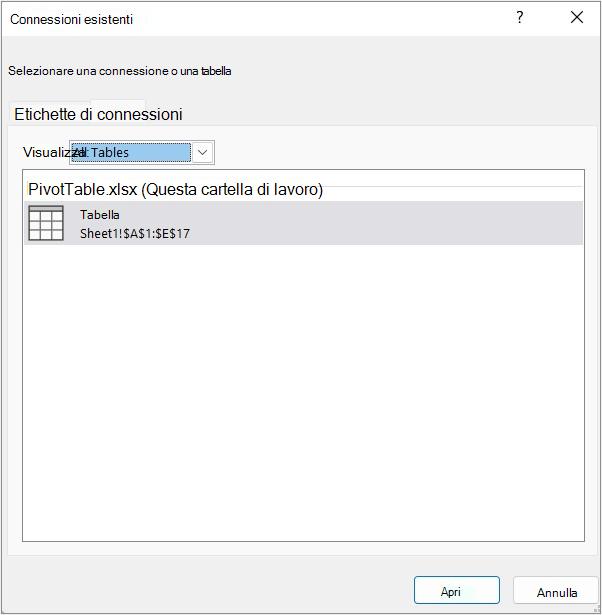 Scheda Tabelle nella finestra di dialogo Connessioni esistenti