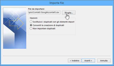 Individuare il file CSV dei contatti e scegliere come gestire i duplicati