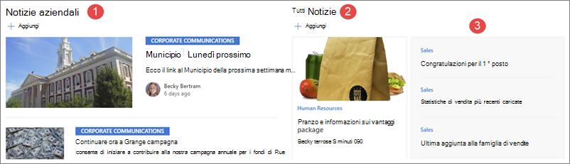 Esempio di notizie in un sito hub Intranet.