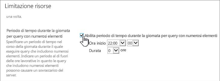 Pagina di impostazioni dell'applicazione in Amministrazione centrale con il periodo di tempo durante la giornata evidenziato