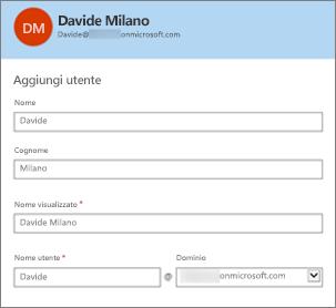 Il nome utente e il dominio corrispondono all'ID utente di Office 365.