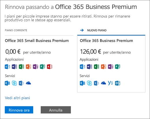 Riquadro di rinnovo che mostra il piano di Office 365 attuale e il nuovo piano consigliato.