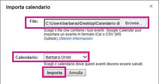 google calendar - finestra di dialogo importa calendario