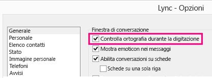'Schermata della finestra delle opzioni generali con l'opzione per il controllo ortografico evidenziata'