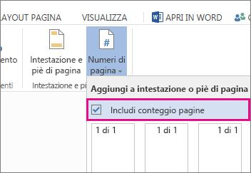 Immagine della casella di controllo da selezionare per includere il numero totale di pagine insieme ai numeri di pagina in un documento (pagina X di Y).