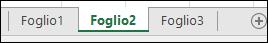 Immagine delle schede del foglio di lavoro di Excel