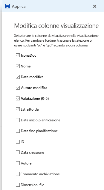 Modifica della visualizzazione elenco della raccolta documenti