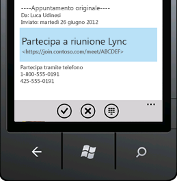 Schermata che illustra il comando Partecipa a riunione Lync su dispositivo mobile