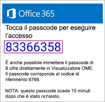 Visualizzatore OME - Posta elettronica passcode