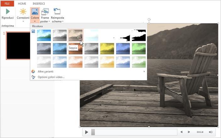 Cambiare il colore del video