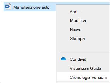 Menu Esplora file che include l'opzione Cronologia versioni.