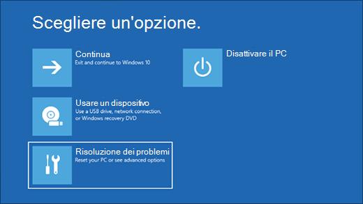 La schermata Scegli un'opzione per reimpostare Surface sulle condizioni di factory tramite un'immagine di ripristino scaricata.