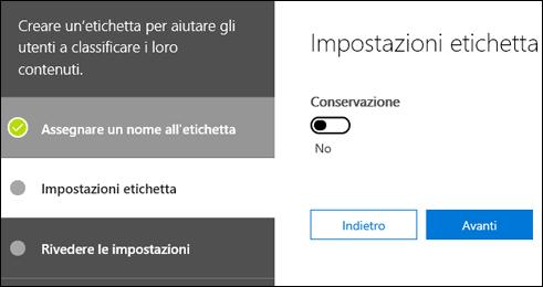 Pagina Impostazioni etichetta con conservazione disattivata