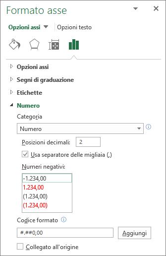 Sezione formato numero in Opzioni assi