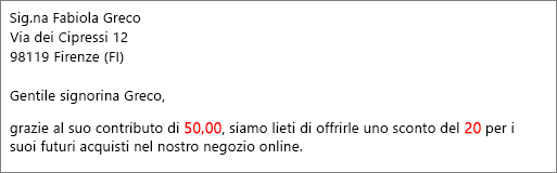 Documento di stampa unione che indica che la donazione è stata di 50,00 e viene offerto uno sconto del 20.