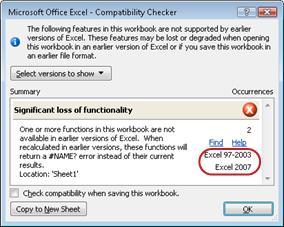 Verifica compatibilità con versioni evidenziate