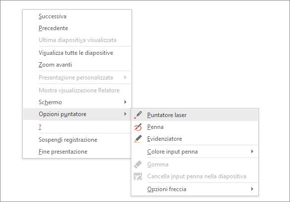 Mostra il menu delle opzioni del puntatore in PowerPoint