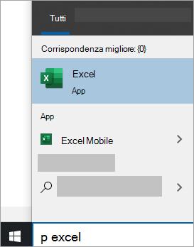 Screenshot della ricerca di un'app in Windows 10