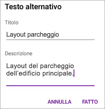 Aggiungere testo alternativo alle immagini in OneNote per Android