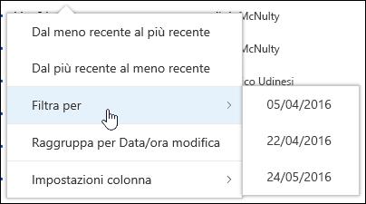 Filtrare la visualizzazione Raccolta documenti in Office 365
