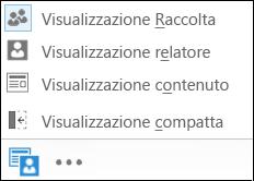 Schermata della scelta di una visualizzazione con la visualizzazione Raccolta selezionata