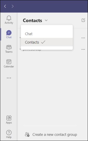 Teams creare un nuovo gruppo di contatti nella chat